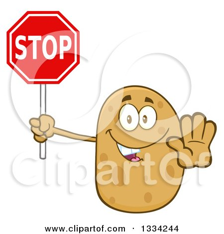 Clipart of a Cartoon Russet Potato Character Gesturing and Holding a Stop Sign - Royalty Free Vector Illustration by Hit Toon