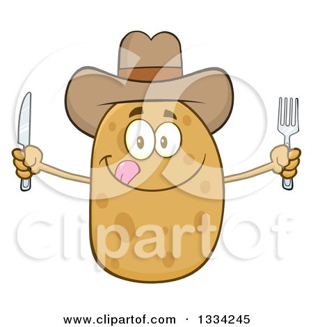 Clipart of a Cartoon Cowboy Russet Potato Character Licking His Lips and Holding Silverware - Royalty Free Vector Illustration by Hit Toon