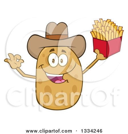 Clipart of a Cartoon Cowboy Russet Potato Character Gesturing Ok and Holding French Fries - Royalty Free Vector Illustration by Hit Toon