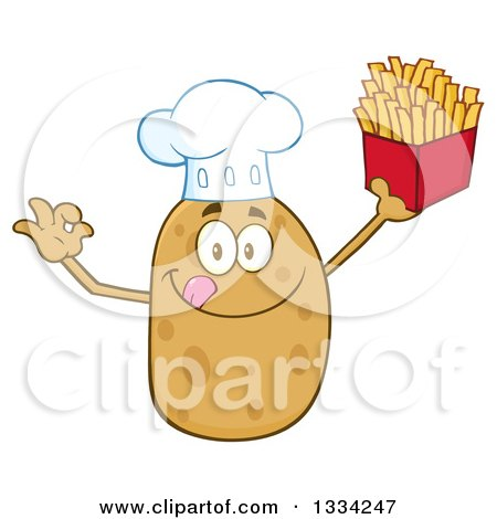Clipart of a Cartoon Chef Russet Potato Character Licking His Lips, Gesturing Ok and Holding up French Fries - Royalty Free Vector Illustration by Hit Toon