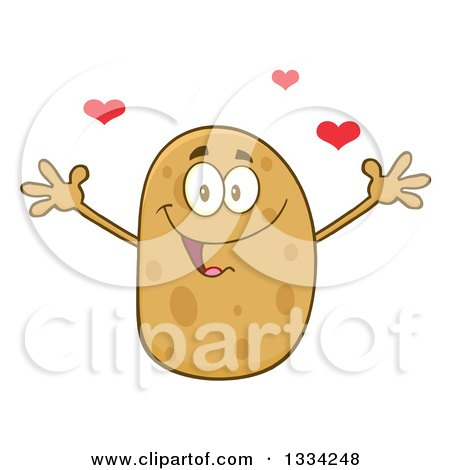 Clipart of a Cartoon Russet Potato Character with Open Arms and Hearts - Royalty Free Vector Illustration by Hit Toon