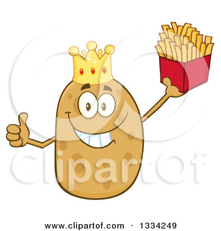 Clipart of a Cartoon King Russet Potato Character Giving a Thumb up and Holding French Fries - Royalty Free Vector Illustration by Hit Toon
