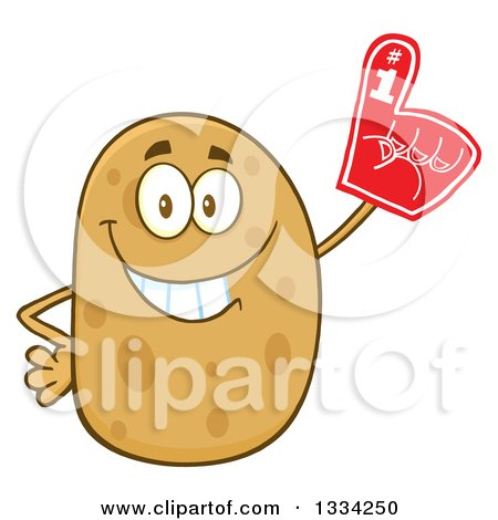 Clipart of a Cartoon Russet Potato Character Wearing a Foam Finger - Royalty Free Vector Illustration by Hit Toon