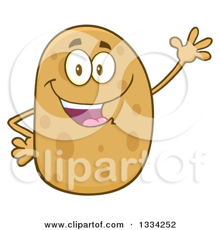 Clipart of a Cartoon Russet Potato Character Waving - Royalty Free Vector Illustration by Hit Toon