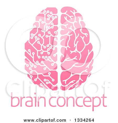 Clipart of a Pink Half Human, Half Artificial Intelligence Circuit Board Brain over Sample Text - Royalty Free Vector Illustration by AtStockIllustration