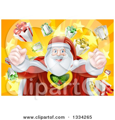 Super Hero Santa Claus Flexing His Muscles in a Christmas Suit over a Star Burst with Gifts Posters, Art Prints