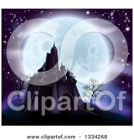 Clipart of a Full Moon Behind a Halloween Haunted Castle with Bare Trees and Purple Tones - Royalty Free Vector Illustration by AtStockIllustration