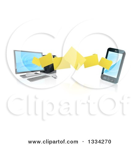 3d Folder File Transfer from a Desktop Computer to a Smart Cell Phone, with Reflections Posters, Art Prints