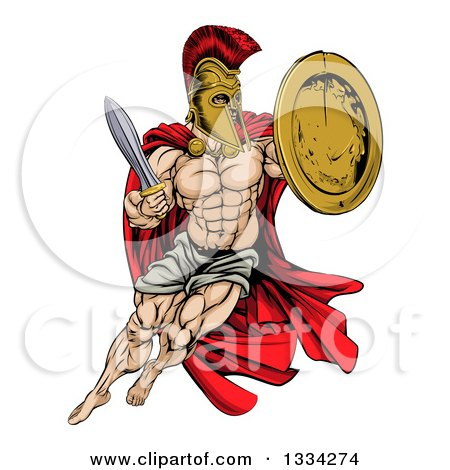 Clipart of a Strong Spartan Trojan Warrior Mascot Wearing a Cape, Jumping with a Sword and Shield - Royalty Free Vector Illustration by AtStockIllustration
