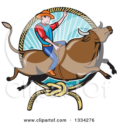 Clipart of a Cartoon Caucasian Rodeo Cowboy on a Bucking Steer Bull over a Lasso and Ray Frame - Royalty Free Vector Illustration by patrimonio