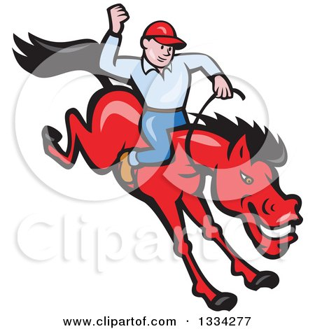 Cartoon Caucasian Rodeo Cowboy on a Red Bucking Horse Posters, Art Prints