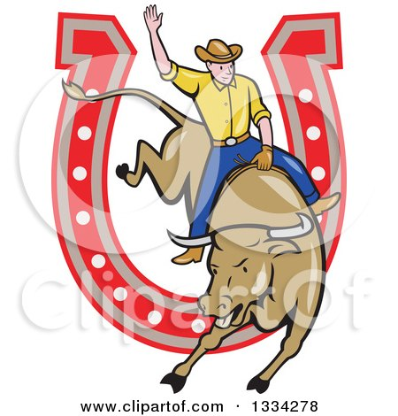 Cartoon Caucasian Rodeo Cowboy on a Bucking Steer Bull over a Horseshoe Posters, Art Prints