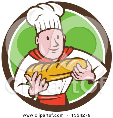 Clipart of a Cartoon Caucasian Male Chef Baker Holding a Loaf of Bread in a Brown White and Green Circle - Royalty Free Vector Illustration by patrimonio