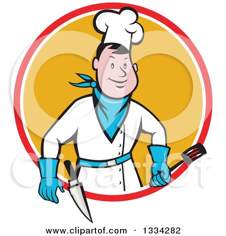 Clipart of a Cartoon Caucasian Male Bbq Chef Holding a Spatula in a Red White and Orange Circle - Royalty Free Vector Illustration by patrimonio