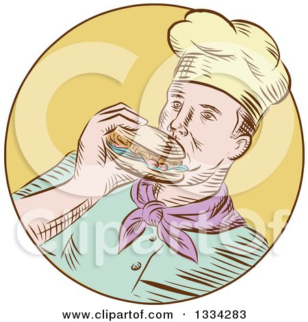 Clipart of a Retro Sketched Caucasian Male Chef Eating a Hamburger in a Yellow Circle - Royalty Free Vector Illustration by patrimonio