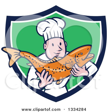Clipart of a Cartoon Caucasian Male Chef Holding a Fresh Trout Fish in a Blue White and Green Shield - Royalty Free Vector Illustration by patrimonio