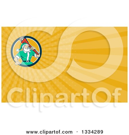 Clipart of a Cartoon Plumber Santa Holding a Monkey Wrench over His Shoulder and Yellow Rays Background or Business Card Design - Royalty Free Illustration by patrimonio