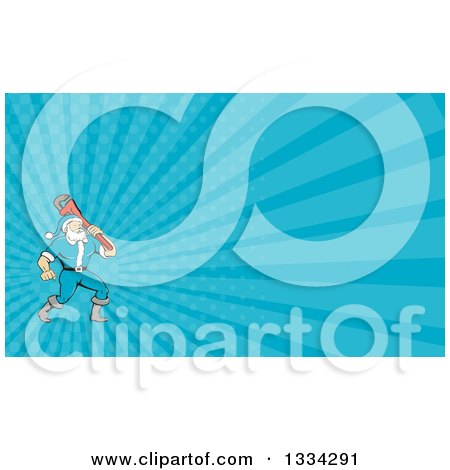 Clipart of a Cartoon Plumber Santa Holding a Monkey Wrench over His Shoulder and Blue Rays Background or Business Card Design - Royalty Free Illustration by patrimonio