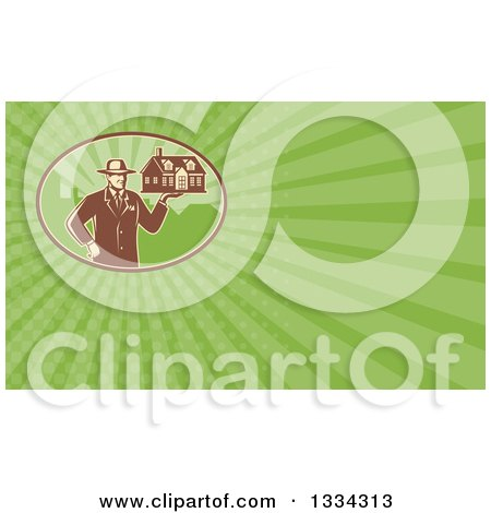 Clipart of a Retro Male Real Estate Agent Holding a House and Green Rays Background or Business Card Design - Royalty Free Illustration by patrimonio