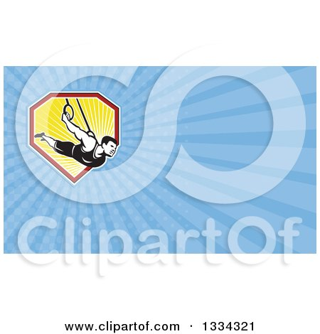 Clipart of a Retro Male Crossfit or Gymnast Athlete on Still Rings and Blue Rays Background or Business Card Design - Royalty Free Illustration by patrimonio