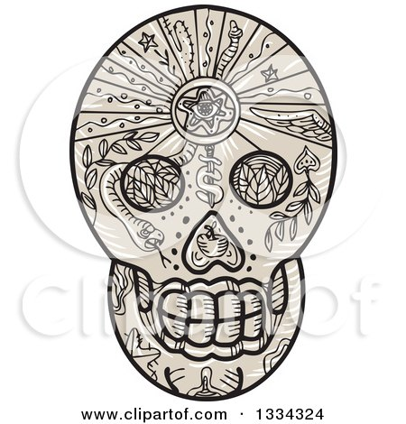 a541b7c6f Clipart of a Skull Lifting a Barbell with a Scottish Thistle Vine in  Sketched Tattoo Style, on a White Background - Royalty Free Illustration by  patrimonio ...