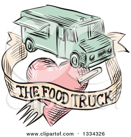 Clipart of a Retro Sketched Food Truck with a Banner and Fork Through a Heart - Royalty Free Vector Illustration by patrimonio