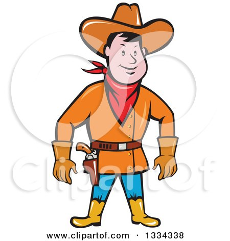 Clipart of a Cartoon Caucasian Cowboy Standing and Ready to Draw a Gun - Royalty Free Vector Illustration by patrimonio