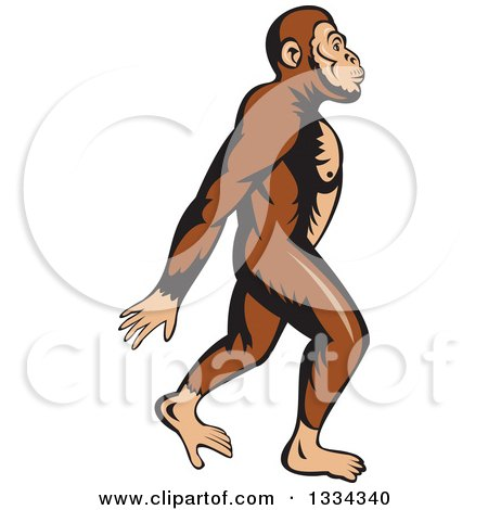 Cartoon Neanderthal Man Walking to the Right Posters, Art Prints