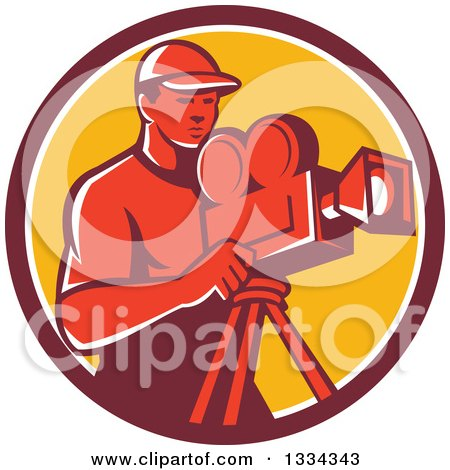 Clipart of a Retro Red Male Cameraman in a Maroon White and Yellow Circle - Royalty Free Vector Illustration by patrimonio
