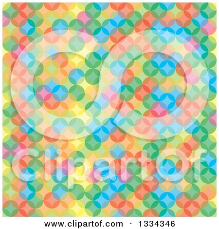 Clipart of a Colorful Background of Overlapping Circles - Royalty Free Vector Illustration by michaeltravers