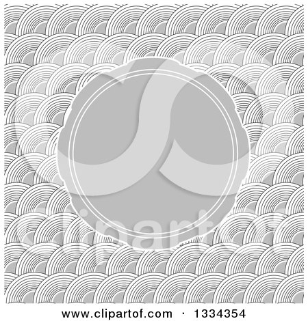 Clipart of a Wave or Arch Pattern Background with a Round Invitation Frame - Royalty Free Vector Illustration by michaeltravers