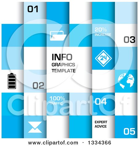 Clipart of a Blue and White Squre Infographics Template Background with Text and Icons - Royalty Free Vector Illustration by michaeltravers