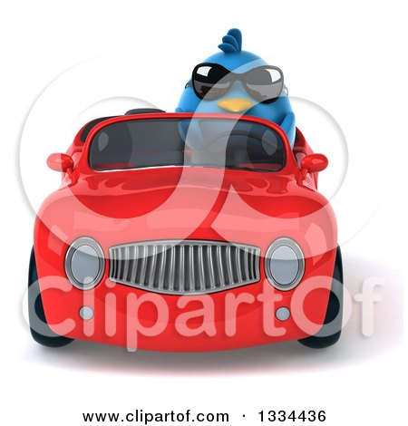 Clipart of a 3d Blue Penguin Wearing Sunglasses and Driving a Red Convertible Car - Royalty Free Vector Illustration by Julos