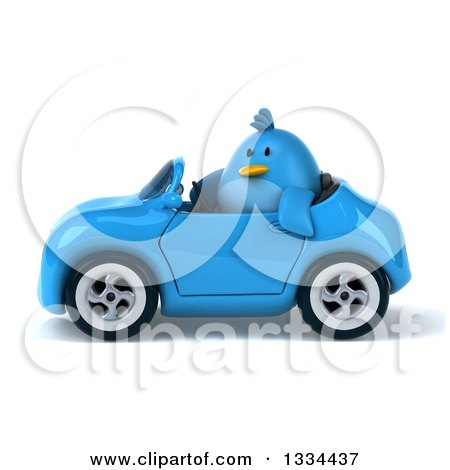 Clipart of a 3d Blue Penguin Driving a Convertible Car 3 - Royalty Free Vector Illustration by Julos