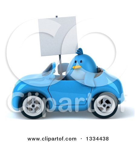 Clipart of a 3d Blue Penguin Holding a Blank Sign and Driving a Convertible Car - Royalty Free Vector Illustration by Julos