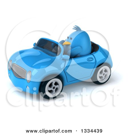 Clipart of a 3d Blue Penguin Driving a Convertible Car 2 - Royalty Free Vector Illustration by Julos