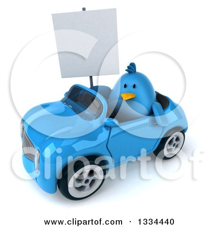 Clipart of a 3d Blue Penguin Holding a Blank Sign and Driving a Convertible Car 2 - Royalty Free Vector Illustration by Julos