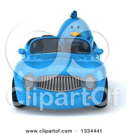 Clipart of a 3d Blue Penguin Driving a Convertible Car - Royalty Free Vector Illustration by Julos