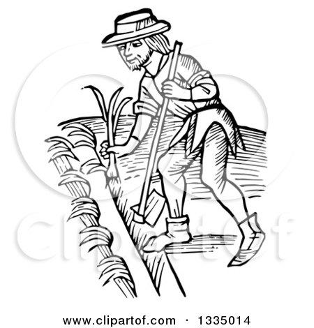 Clipart of a Black and White Woodcut Medieval Man Using a Hoe and Planting a Garden - Royalty Free Vector Illustration by Picsburg
