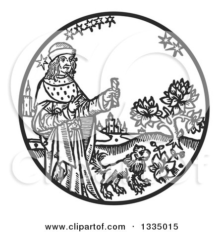 Clipart of a Black and White Woodcut Medieval King Holding a Stick by a Lion in a Garden - Royalty Free Vector Illustration by Picsburg