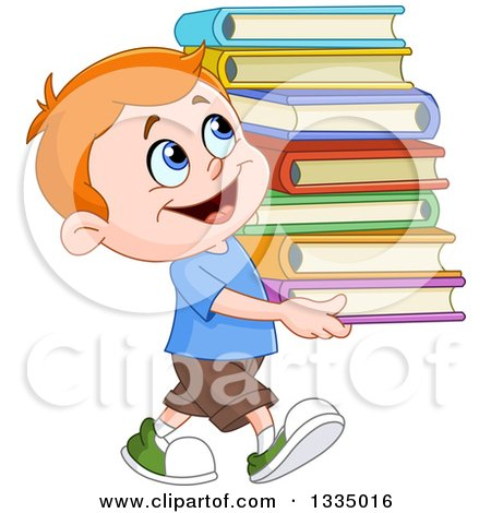 Clipart of a Cartoon Red Haired White School Boy Smiling and Carrying a Stack of Books - Royalty Free Vector Illustration by yayayoyo