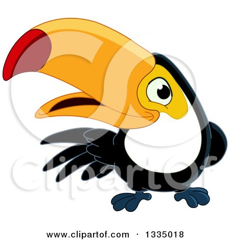 Clipart of a Cartoon Happy Toucan Bird Presenting to the Left - Royalty Free Vector Illustration by yayayoyo
