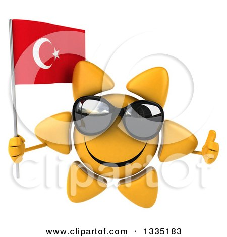 Clipart of a 3d Happy Sun Character Wearing Shades, Giving a Thumb up and Holding a Turkish Flag - Royalty Free Illustration by Julos
