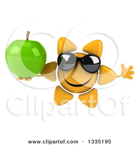 Clipart of a 3d Happy Sun Character Wearing Sunglasses, Jumping and Holding a Green Apple - Royalty Free Illustration by Julos