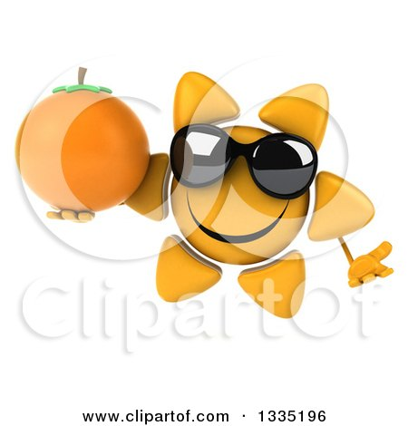 Clipart of a 3d Happy Sun Character Wearing Sunglasses, Shrugging and Holding a Navel Orange - Royalty Free Illustration by Julos