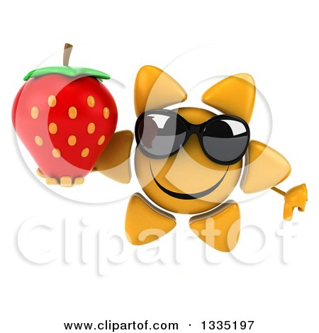 Clipart of a 3d Happy Sun Character Wearing Sunglasses, Giving a Thumb down and Holding a Strawberry - Royalty Free Illustration by Julos