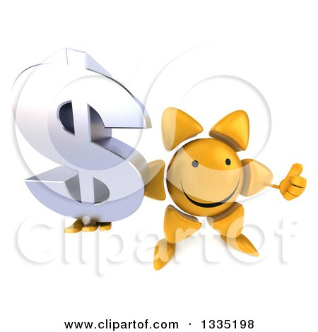 Clipart of a 3d Happy Sun Character Holding up a Thumb and a Dollar Currency Symbol - Royalty Free Illustration by Julos