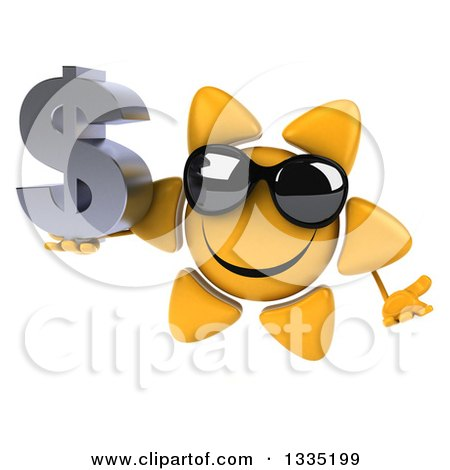 Clipart of a 3d Happy Sun Character Wearing Shades, Shrugging and Holding a Dollar Currency Symbol - Royalty Free Illustration by Julos