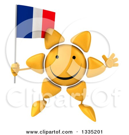 Clipart of a 3d Happy Sun Character Jumping and Holding a French Flag - Royalty Free Illustration by Julos