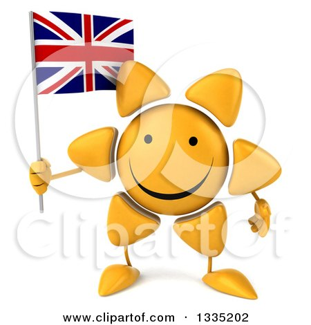 Clipart of a 3d Happy Sun Character Holding a British Union Jack Flag - Royalty Free Illustration by Julos